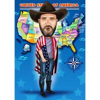 Карикатура ковбоя нарисованная с фоном с фотографии