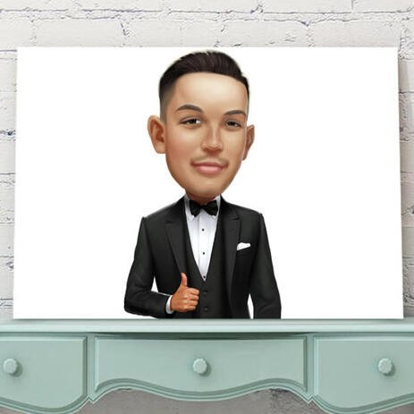 Groom Caricature from Photos on Canvas - example