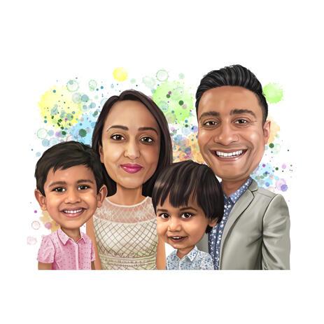 Семейный портрет в пастельных тонах на фоне акварельных брызг нарисованный с фото - example