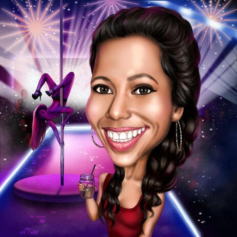 Hand Drawn Customized Woman Birthday Caricature Drawing with Custom Background - example