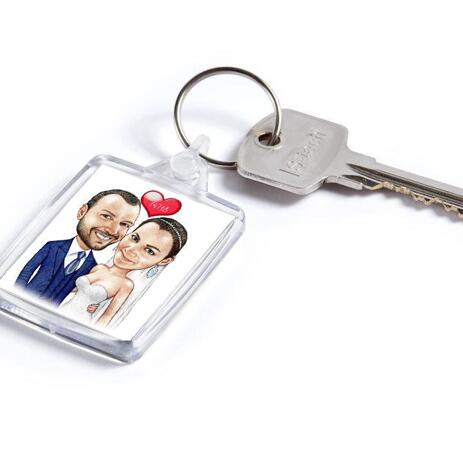 Wedding Caricature on Keyring - example