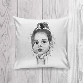 Baby Girl Caricature Printed on Pillow