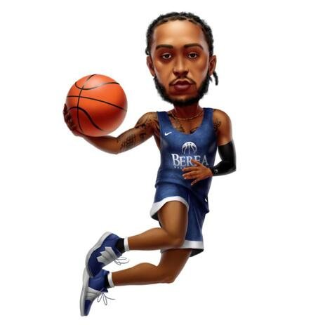 Basketball Caricature: Full Body, Colored Style - example