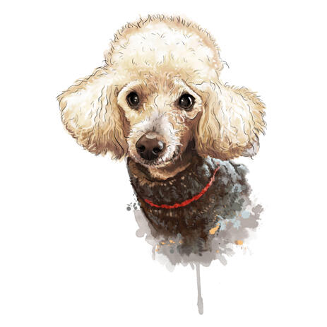 Watercolor Style Pet in Clothing Cartoon Portrait with Natural Coloring from Photos - example