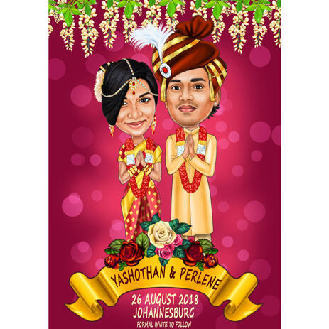 Couple Indian Bollywood Wedding Cute Caricature with Background for Custom Cards Invitations - example