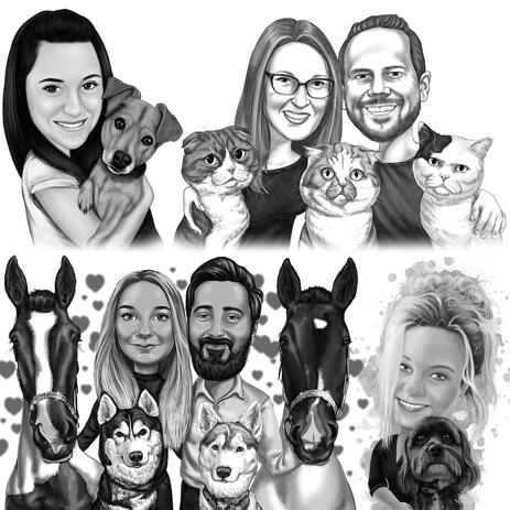 Pet with Owner Caricature from Photos - Black and White Style - example