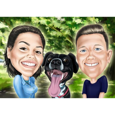 Couple with Dog Caricature Portrait with Colored Background - example