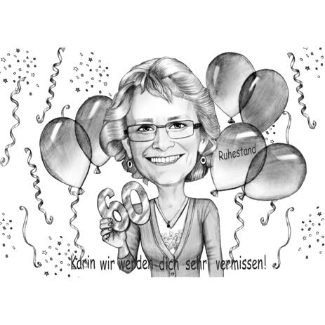 60 Anniversary Birthday Caricature from Photos - example