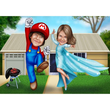 Children Caricature for Cartoons Fans: Super Mario and Frozen - example