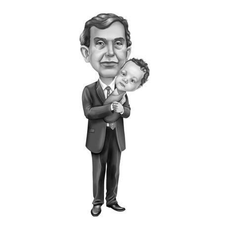 Grandfather with Baby Caricature in Full Body Black and White Style from Photos - example