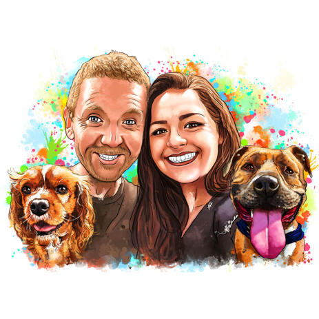 Portrait of Couple with Pets in Natural Watercolor Style - example