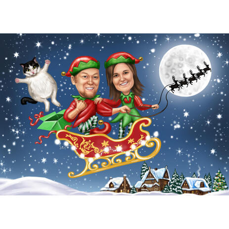 Couple with Pets Christmas Caricature in Santa's Sleighs - example