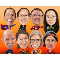 Superhero Group Caricature in Digital Style with One Color Background