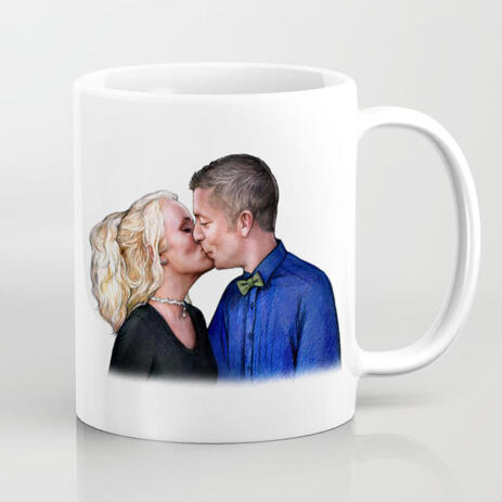 Custom Coffee Mug with Couple Drawing - example