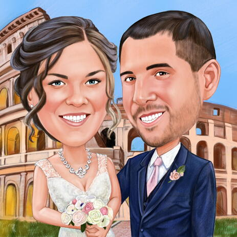 Wedding Caricature with Custom Background Hand-Drawn from Photos - example