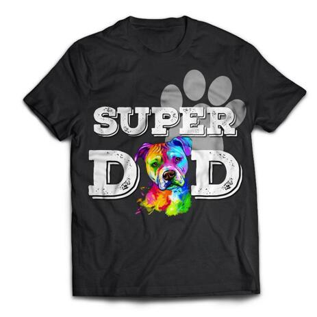 Limited Edition: Super Dog Dad Black T-Shirt with Custom Watercolor Portrait - example