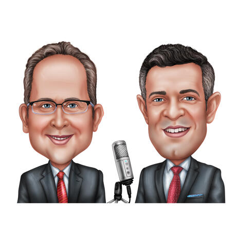 Podcast Host Caricature in Colored Style from Photos - example