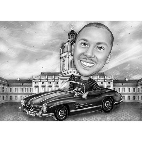 Car Caricature for Birthday Brother Gift in Black and White Style - example