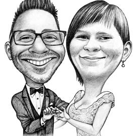 Wedding Couple Caricature Drawing in Black and White Pencils Style