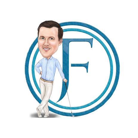 Caricatura de corpo inteiro de fotos para logotipo comercial personalizado - example