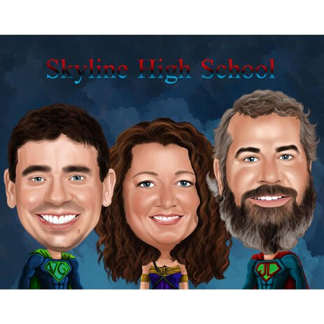 Big Heads Superhero Group Caricature from Photos with Colored Background - example