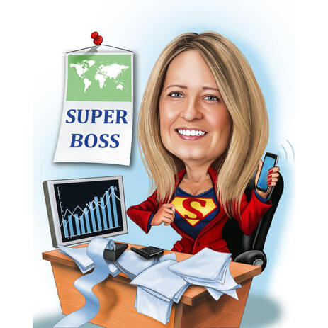 Best Manager Award - Head and Shoulders Caricature in Color Style with Custom Background - example