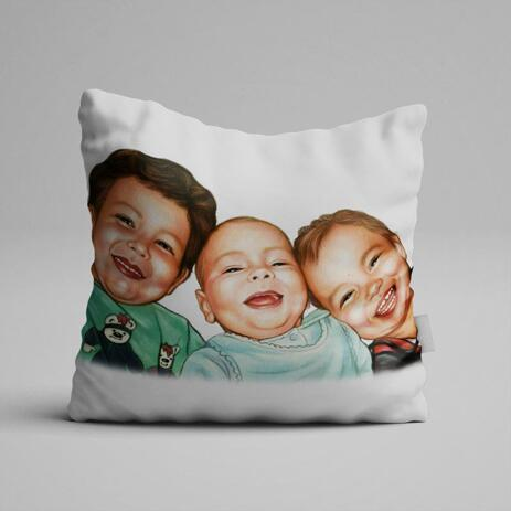 Brothers Caricature from Photos as Pillow - example