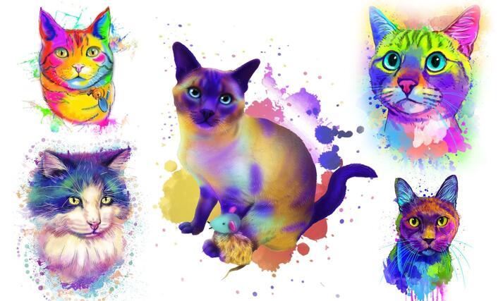 Watercolor Cat Portrait large example