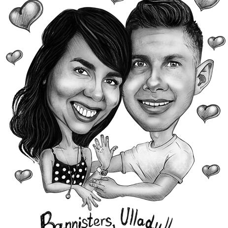 Romantic Caricature from Photo in Black and White Pencils Style - example