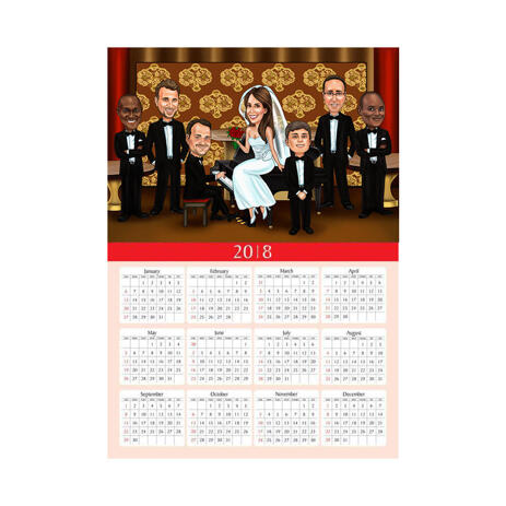 Group Wedding Caricature for Wedding as Calendar Gift - example