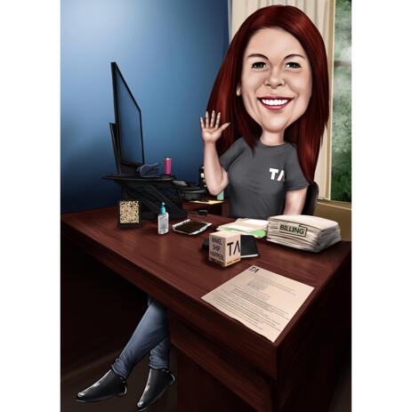 Workspace Caricature: Employee Sitting at Desk in Office - example