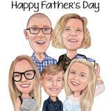 Kundengebundene Bleistift-Familien-Karikatur-Zeichnung vom Foto