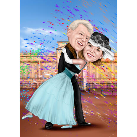 Happy 50th Wedding Anniversary Caricature from Photos with Custom Background - example
