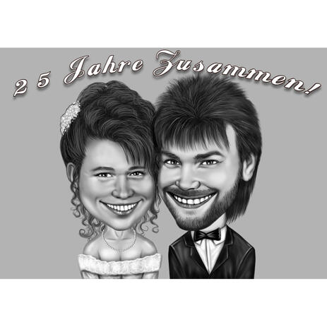 25 Years Wedding Anniversary Couple Caricature in Black and White - example