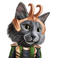 Superhero Cat Caricature Drawing in Color Style from Photo