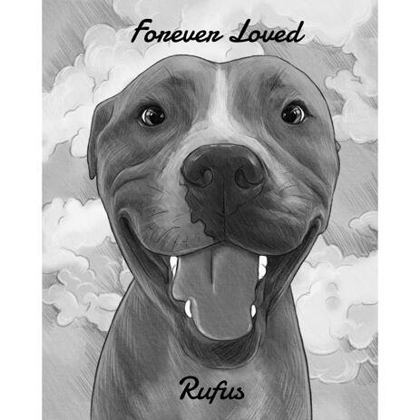 Forever Loved - Memorial Dog Portrait in Black and White Style - example