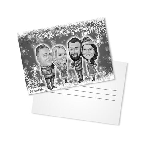 Group Christmas Set of 10 Caricature Cards in Black and White Style from Photos - example