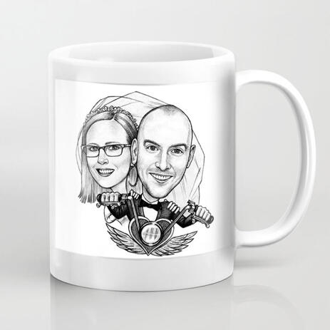 Couple Caricature on Coffee Mug - example