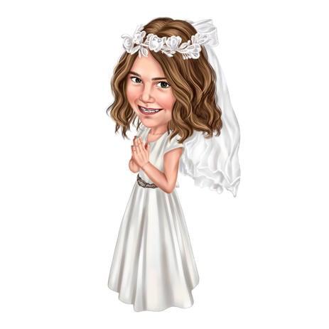 Карикатура ребенка в образе феи в полный рост в цветном цифровом стиле с фотографии - example