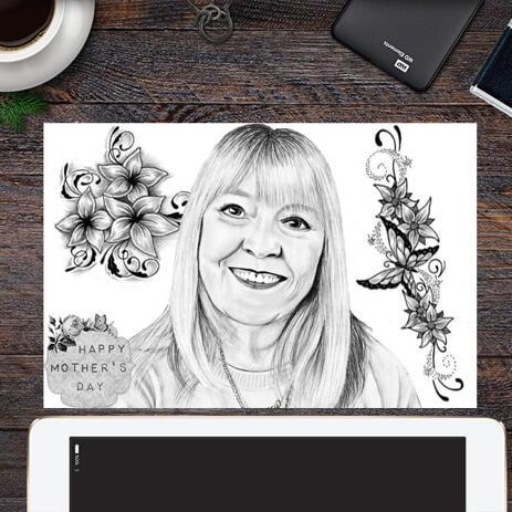 Originalportrait auf Papier: Monochrome Portraitzeichnung vom Foto für Muttertagsgeschenk - example