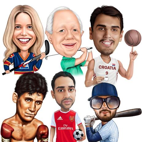 Any Sport Caricature from Photos in Colored Style - example