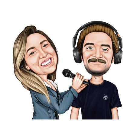 Caricatura de casal segurando microfone para amantes da música - example