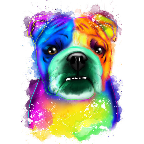 Rainbow Watercolor Bulldog Portrait from Photos - example