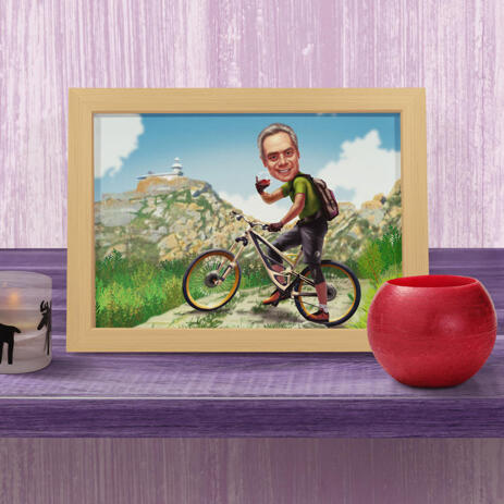 Person on Bicycle Cartoon Caricature in Color Style on Custom Background as Poster Print - example