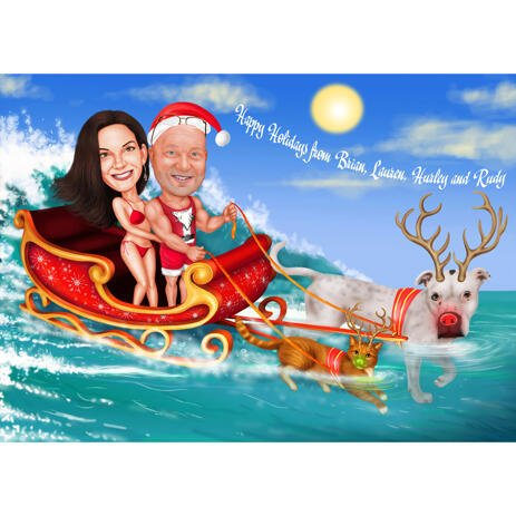 Christmas Couple Caricature with Dog in Sleigh with Ocean Background - example