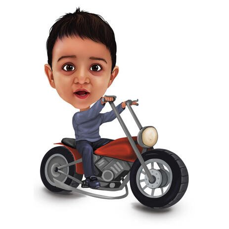 Child on Motorbicycle Caricature from Photos - example