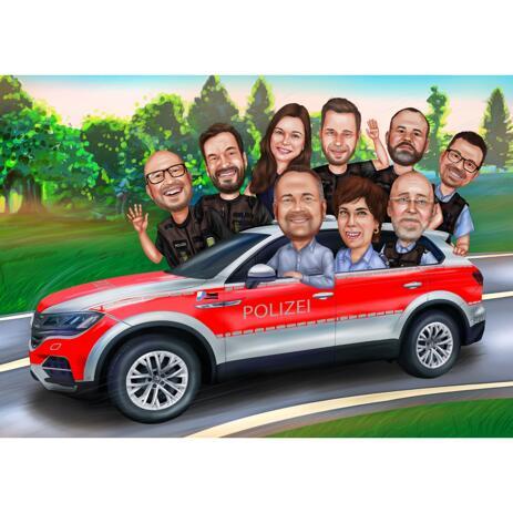 Gruppenkarikatur mit einem Fahrzeug aus Ihren Fotos - example