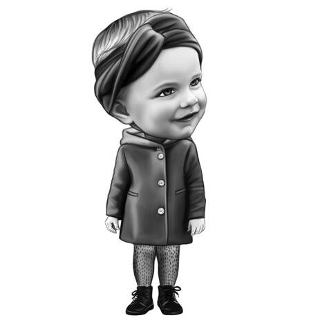 Kid Girl Caricature Portrait in Full Body Black and White Style from Photo - example