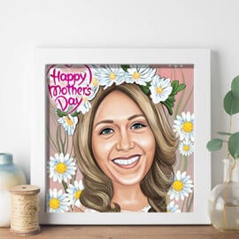 Mother's Day Framed Print: Caricature Drawing from Photo for Mother's Day Gift