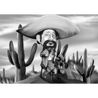 Cowboy-miehen karikatyyri mustavalkoisella tyylillä kaktuskentän taustalla
